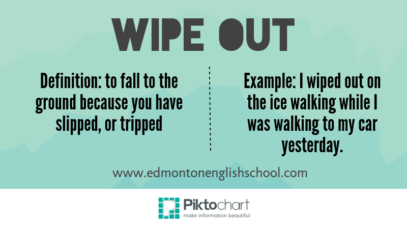 learning English online - phrasal verb WIPE OUT