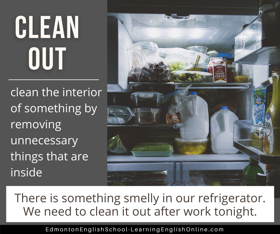CLEAN OUT Definition: clean the interior of something by remove unnecessary things that are inside Example sentence: There is something smelly in our refrigerator. We need to clean it out after work tonight.