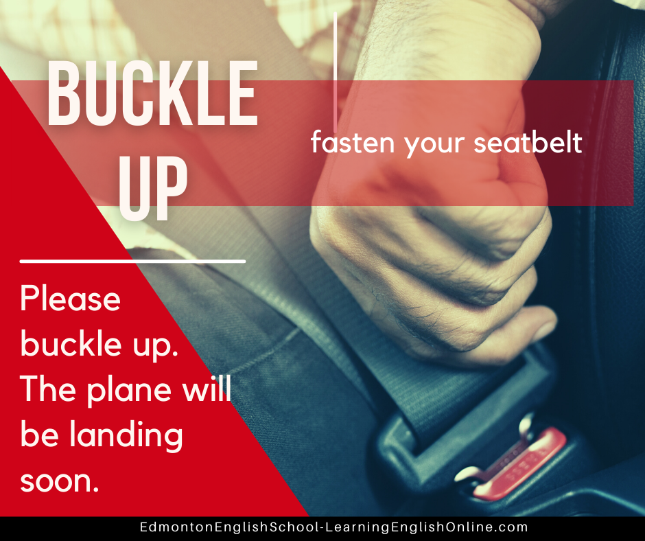 The meaning of BUCKLE UP is fasten your seatbelt. Example: Please buckle up. The plane will be landing soon.